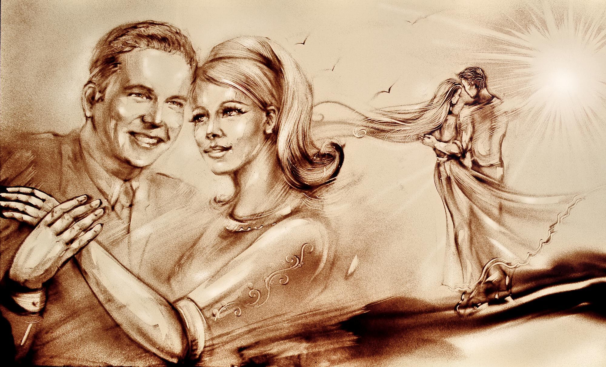 Sandmalerei Hochzeit